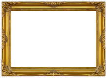 Antik guld- ram isolerad dekorativ sniden wood ställning Fotografering för Bildbyråer