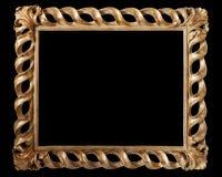 Antik guld- ram som isoleras på svart Royaltyfria Bilder