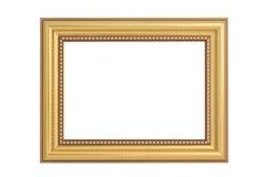 Antik guld- ram som isoleras på vit royaltyfri bild