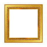 Antik guld- ram som isoleras på vit bakgrund fotografering för bildbyråer