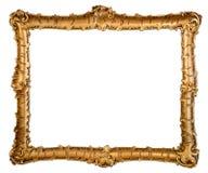 Antik guld- ram som isoleras på viten Royaltyfria Bilder