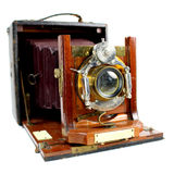 Antik hopfällbar kamera Front View arkivfoto