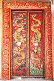 Antik kines dekorerade dörrar i Ayutthaya Arkivbild