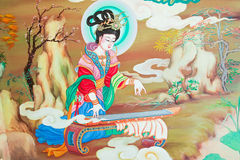 antik kinesisk väggmålning fotografering för bildbyråer