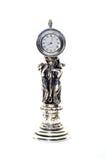 Antik klocka med statyetter av kvinnor Royaltyfria Foton