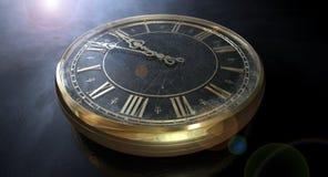 Antik klockamidnatt för makro Royaltyfri Fotografi