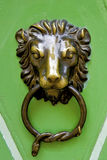 Antik knocker. Luxury antik door knocker. Green door Stock Images