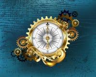 Antik kompass med kugghjul Steampunk Arkivfoton