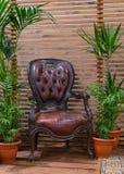 Antik läderstol på en träveranda Arkivfoton