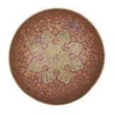 Antik metall målade plattan som isolerades på vit bakgrund retro stil Tappning arkivfoto