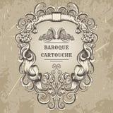 Antik och barock cartoucheprydnadram För detaljdesign för tappning arkitektoniska beståndsdelar royaltyfri illustrationer