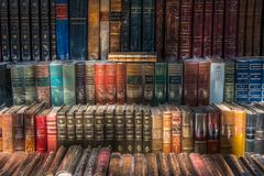 Antik old Books and Bouquiniste in Paris stock images