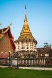 Antik pagod i templet, Lampang Arkivfoton
