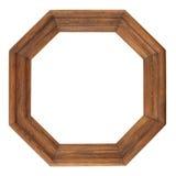 Antik ram för oktogon, retro ram, träram som isoleras på whi arkivfoto