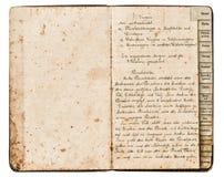 Antik receptbok med handskriven text royaltyfri fotografi