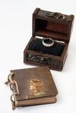 Antik retro dagbok som är destinerad med repet och träbröstkorgen Royaltyfri Bild