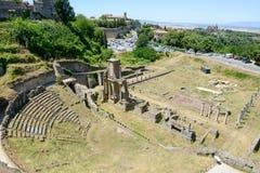 Antik roman amfiteater av Volterra på Tuscany Royaltyfri Foto