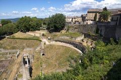 Antik roman amfiteater i Volterra Royaltyfria Foton