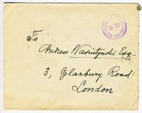 Antik ryss censurerad bokstav med den London adressen Royaltyfri Foto