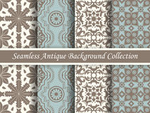 Antik sömlös bakgrundssamlingsbrunt och blue_42 Arkivbilder