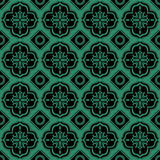 Antik sömlös grön geometri för bakgrundsfyrkantrunda vektor illustrationer