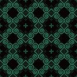 Antik sömlös triangel F för virvel för kurva för bakgrundsrundaspiral stock illustrationer