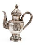 antik silverteapot Arkivbild