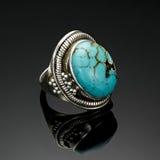 Antik silverturkos Ring Laguna arkivbilder
