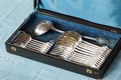 antik silverware Fotografering för Bildbyråer