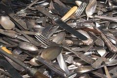 antik silverware Royaltyfri Fotografi