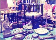 Antik skärmGreenwich marknad Berömt ställe som köper en konst, hantverk, antikviteter etc. , London Royaltyfri Fotografi