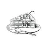 Antik stil för kakahandteckning på vit bakgrund vektor illustrationer