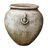 Antik stor dekorativ vas som isoleras på vit Royaltyfri Fotografi