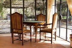 Antik tabell för ädelträ med stolar i orangeria med stor seger arkivbild