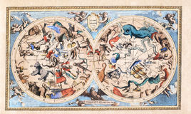 Antik tappningkonstellation Celestial Double Hemisphere royaltyfri bild