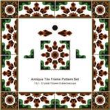 Antik tegelplattarammodell set_162 Crystal Flower Kaleidoscope Royaltyfri Foto