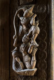 Antik träskulptur i form av gudar Royaltyfria Foton