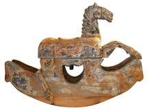 Antik trävagga häst Arkivbilder