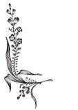 antik vektor för hörngravyrblomma Royaltyfri Illustrationer