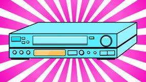 Antik videobandspelare för blå gammal Hipster för tappning volymetrisk Retro för videokassetter för hållande ögonen på filmer, vi Arkivfoton