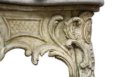 Antika barocka isolerade tabelldetaljer Arkivfoto