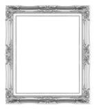Antika bildramar för silver Isolerat på vit royaltyfria bilder