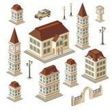 antika byggnader stock illustrationer