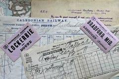 Antika Caledonian järnvägdokument Royaltyfria Foton