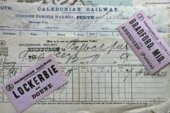 Antika Caledonian järnvägdokument Royaltyfri Fotografi