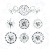 Antika compas för riktning i tappningstil Monokrom illustrationuppsättning för vektor royaltyfri illustrationer
