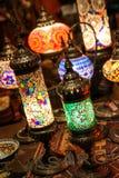 Antika glass mosaiktabelllampor Royaltyfria Bilder