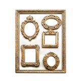 Antika guld- ramar Fotografering för Bildbyråer