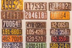 Antika Illinois fordonsskattplattor Arkivbilder