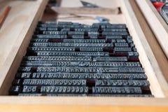 Antika järnbokstäver för traditionell printing Arkivbild